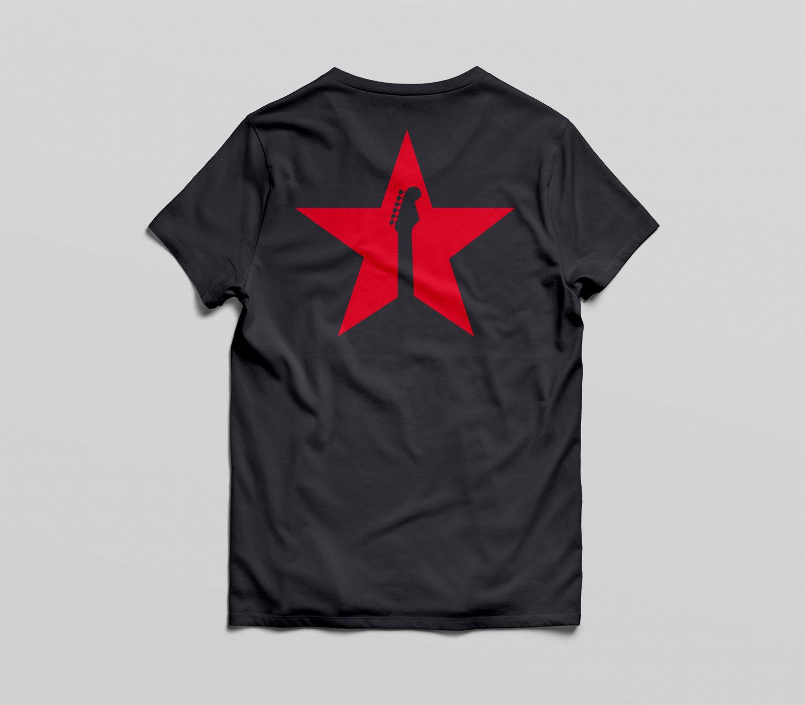 red star tee black back