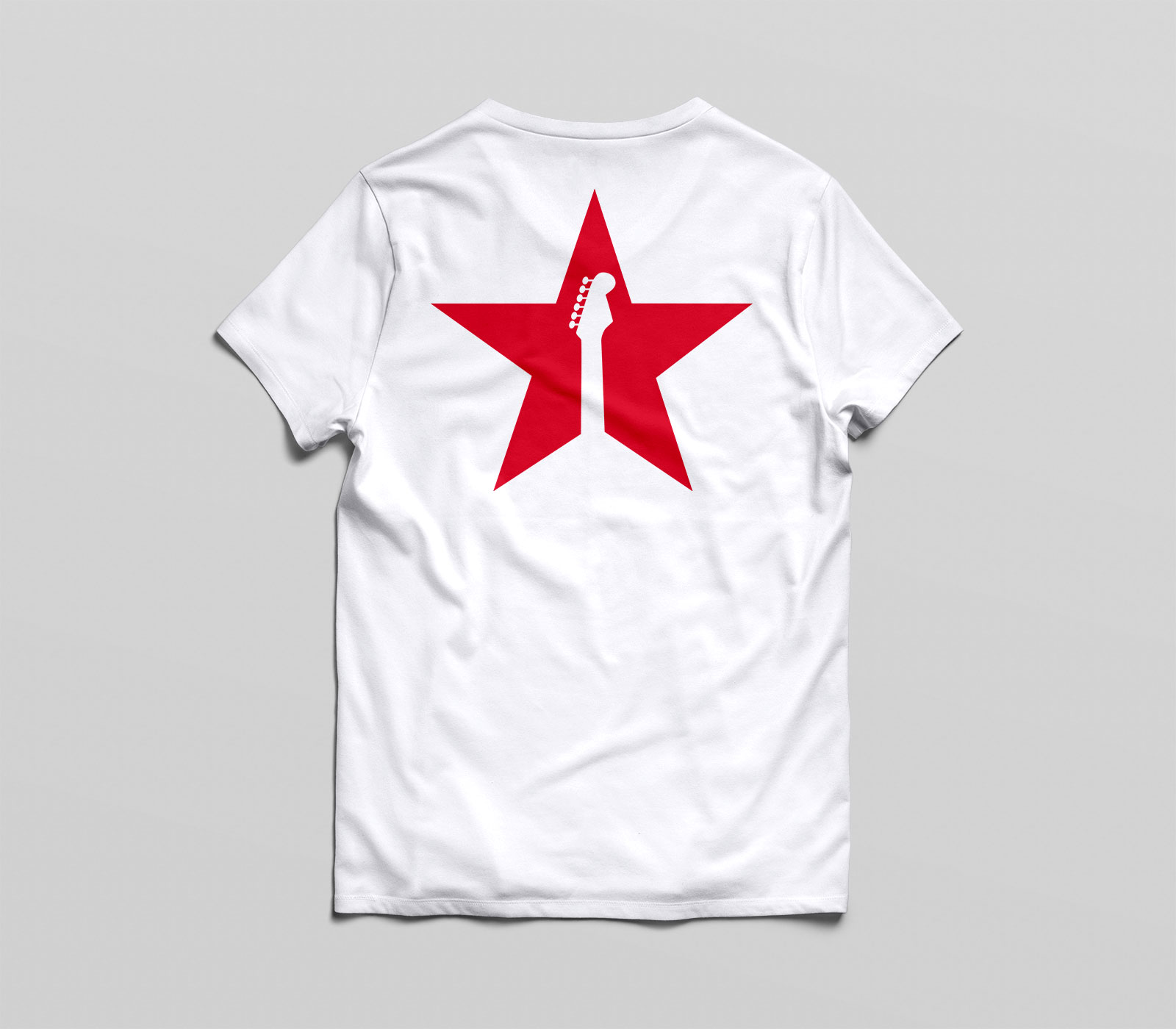 red star tee white back